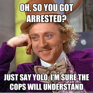 oh so you got arrested just say yolo im sure the cops wi - Condescending Wonka