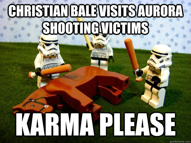 christian bale visits aurora shooting victims karma please - Beating A Dead Horse