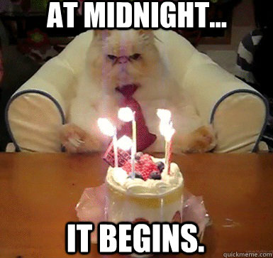 at midnight it begins - Cake Day Cat
