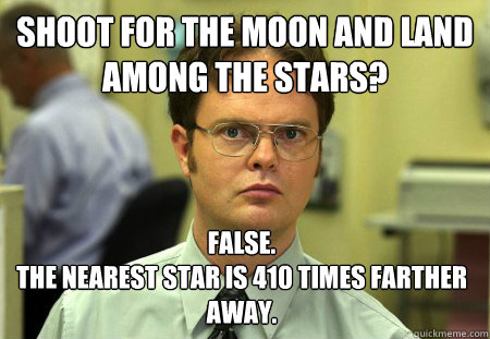 shoot for the moon and land among the stars false the near - Dwight