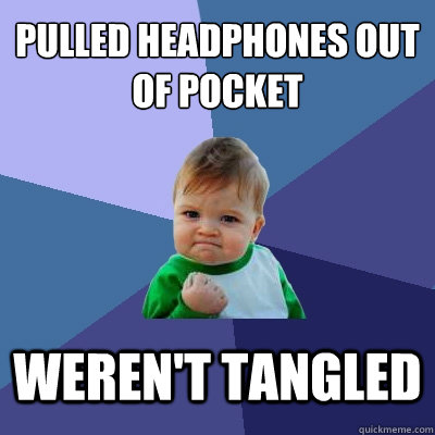 pulled headphones out of pocket werent tangled - Success Kid