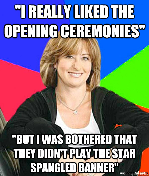 i really liked the opening ceremonies but i was bothered  - sheltered suburban mom