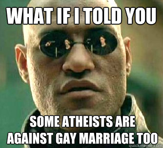 what if i told you some atheists are against gay marriage to - What if I told you