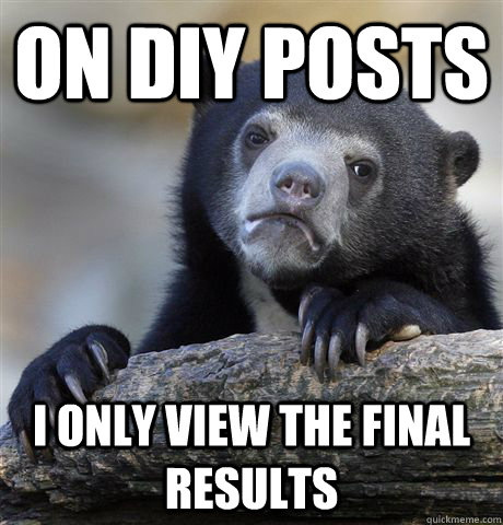 on diy posts i only view the final results - Confession Bear