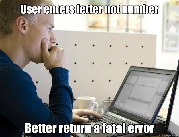 user enters letter not number better return a fatal error - Programmer