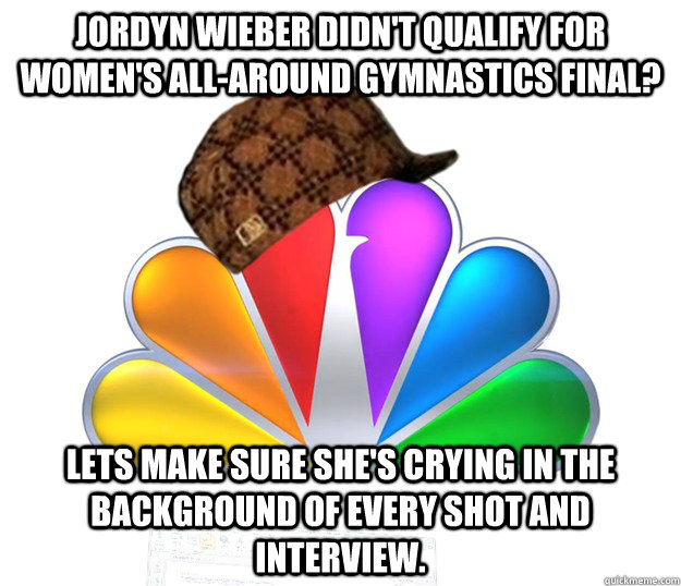 jordyn wieber didnt qualify for womens allaround gymnasti - Scumbag NBC nbcfail