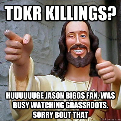 tdkr killings huuuuuuge jason biggs fan was busy watching  - Buddy Christ
