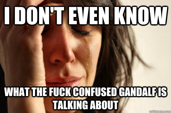 i dont even know what the fuck confused gandalf is talking  - First World Problems
