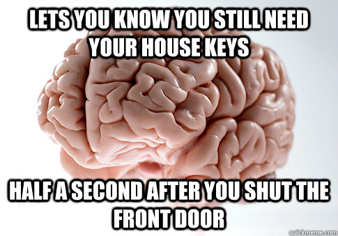 lets you know you still need your house keys half a second a - Scumbag Brain