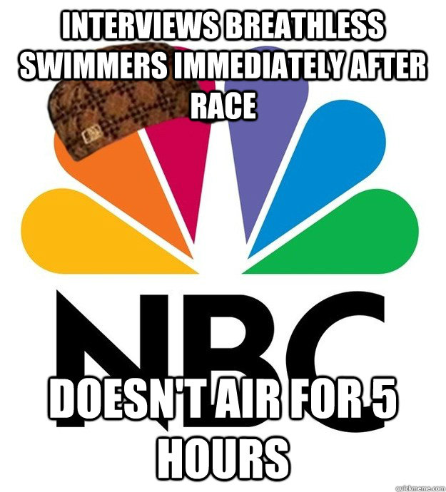 interviews breathless swimmers immediately after race doesn - Scumbag NBC