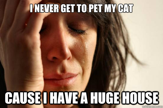 i never get to pet my cat cause i have a huge house - First World Problems