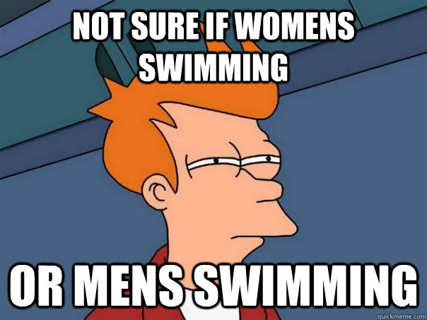 not sure if womens swimming or mens swimming - Futurama Fry