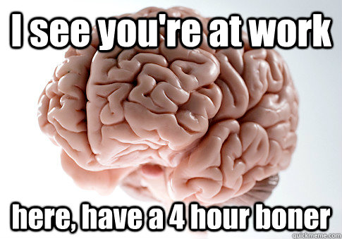 i see youre at work here have a 4 hour boner - Scumbag Brain