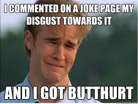 i commented on a joke page my disgust towards it and i got b - 1990s Problems