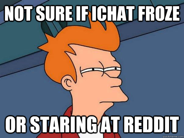 not sure if ichat froze or staring at reddit - Futurama Fry