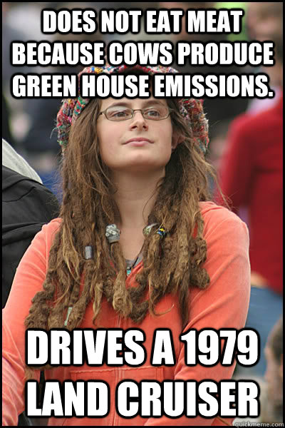 does not eat meat because cows produce green house emissions - College Liberal