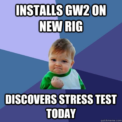 installs gw2 on new rig discovers stress test today - Success Kid
