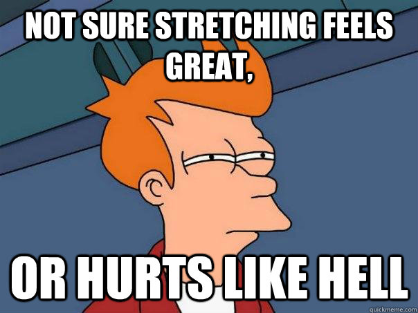 not sure stretching feels great or hurts like hell - Futurama Fry