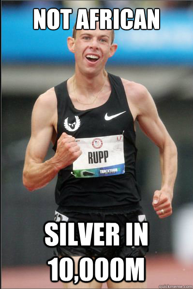 not african silver in 10000m - Success Galen Rupp.