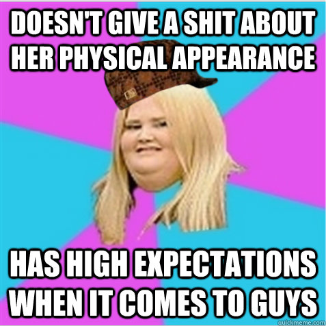 doesnt give a shit about her physical appearance has high  - scumbag fat girl
