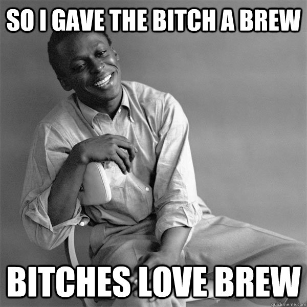 so i gave the bitch a brew bitches love brew - Smiling Miles