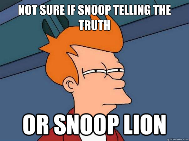 not sure if snoop telling the truth or snoop lion - Futurama Fry