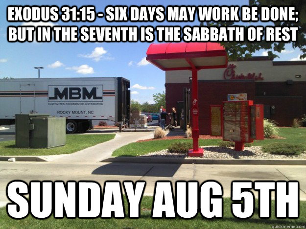 exodus 3115 six days may work be done but in the seventh - Sabbath Chicken