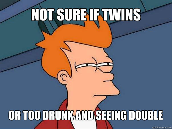 not sure if twins or too drunk and seeing double - Futurama Fry