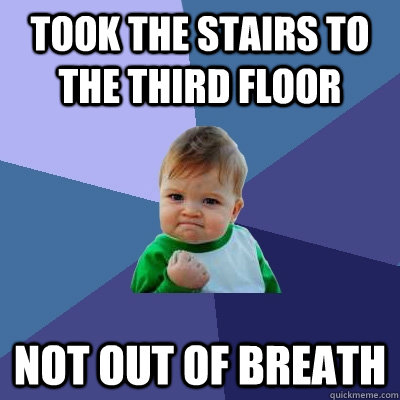 took the stairs to the third floor not out of breath - Success Kid