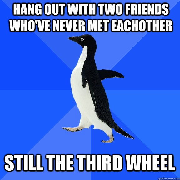 hang out with two friends whove never met eachother still t - Socially Awkward Penguin