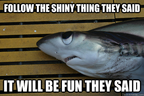 follow the shiny thing they said it will be fun they said - depressed shy shark