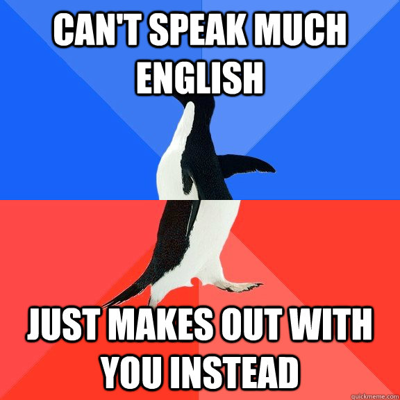 cant speak much english just makes out with you instead - Socially Awkward Awesome Penguin