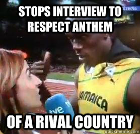stops interview to respect anthem of a rival country - Good Guy Usain Bolt