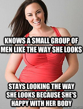 stays looking the way she looks because shes happy with her - Good sport plus size woman