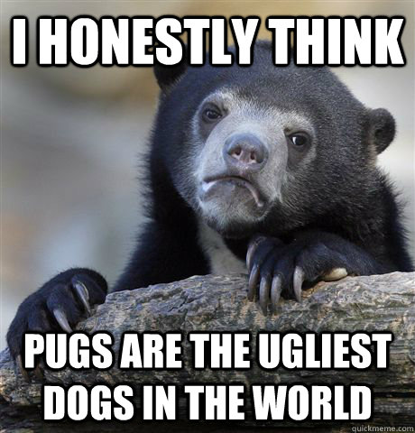 i honestly think pugs are the ugliest dogs in the world - Confession Bear