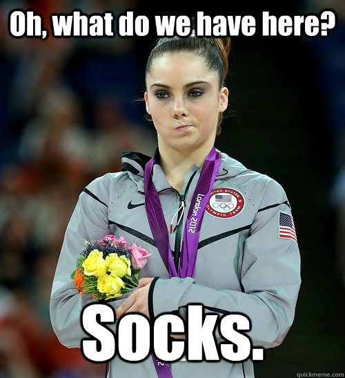 oh what do we have here socks  - McKayla Not Impressed