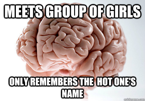 meets group of girls only remembers the hot ones name - Scumbag Brain