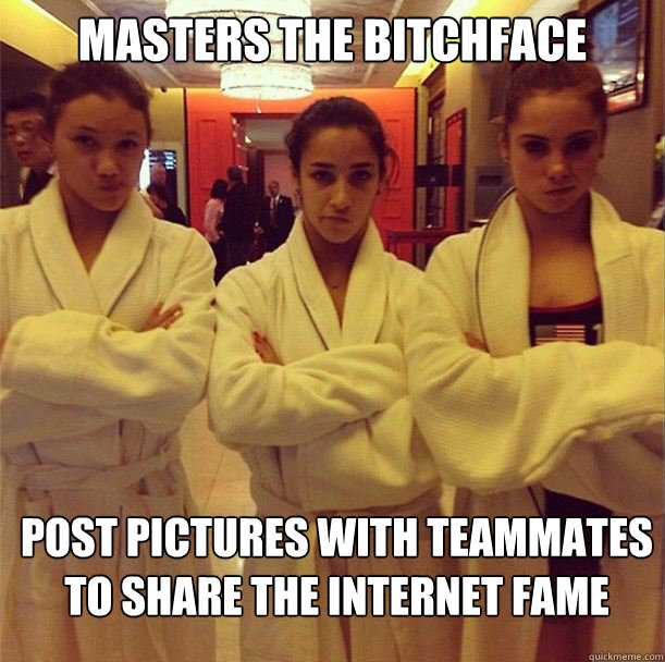 masters the bitchface post pictures with teammates to share  -