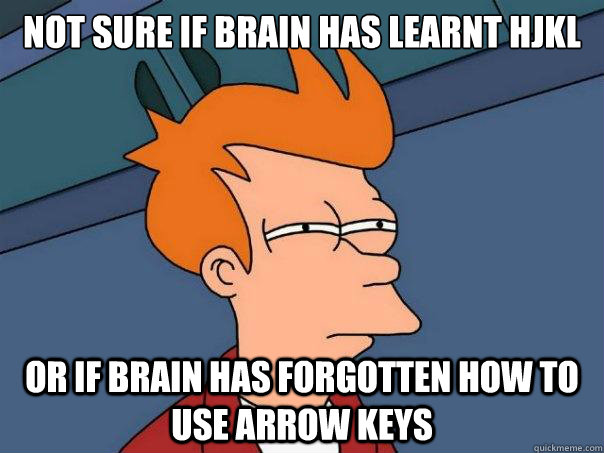 not sure if brain has learnt hjkl or if brain has forgotten  - Futurama Fry