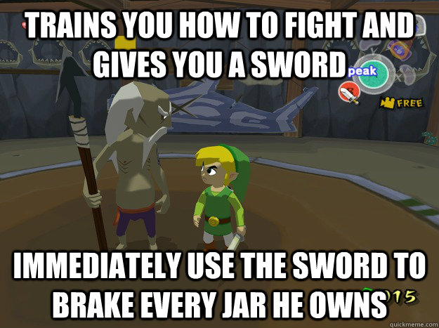 trains you how to fight and gives you a sword immediately us -