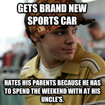 gets brand new sports car hates his parents because he has t - Scumbag Walt Jr.