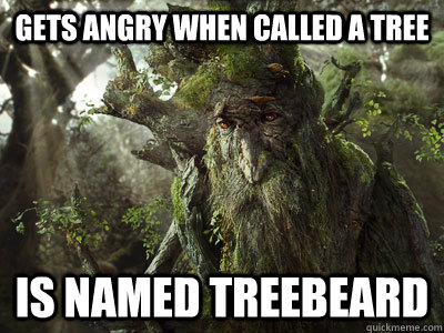 gets angry when called a tree is named treebeard - treebeard
