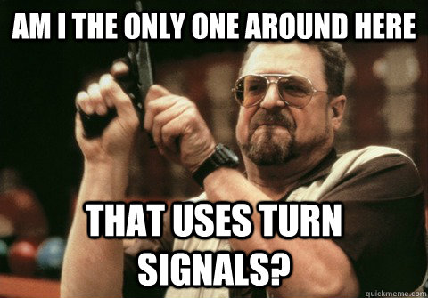 am i the only one around here that uses turn signals - Am I the only one