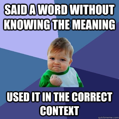 said a word without knowing the meaning used it in the corre - Success Kid