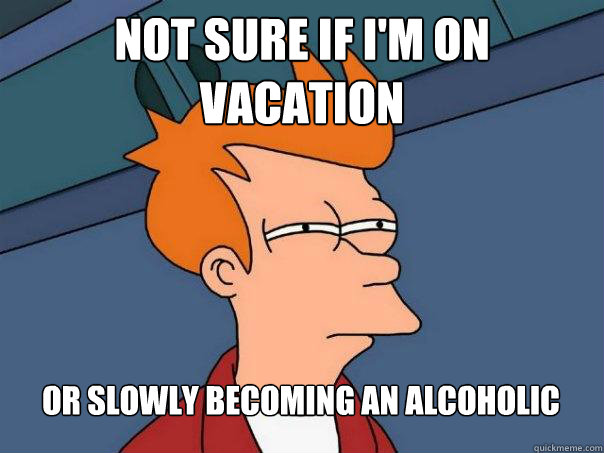 not sure if im on vacation or slowly becoming an alcoholic - Futurama Fry