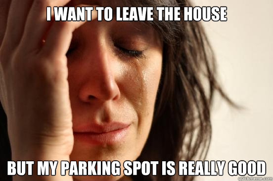 i want to leave the house but my parking spot is really good - First World Problems