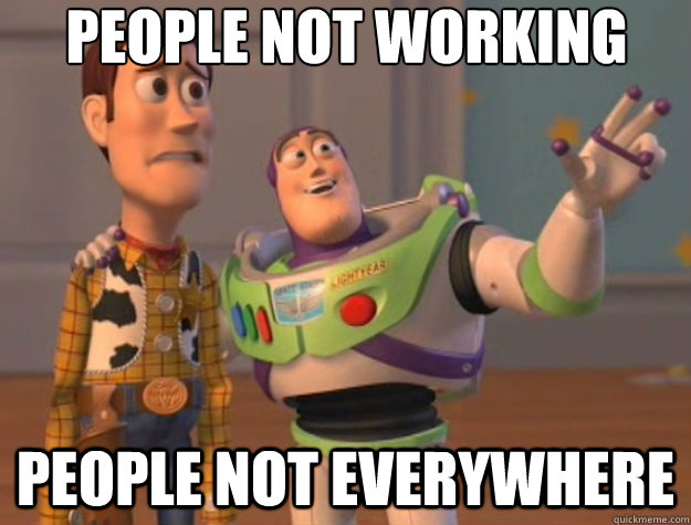 people not working people not everywhere - Toy Story