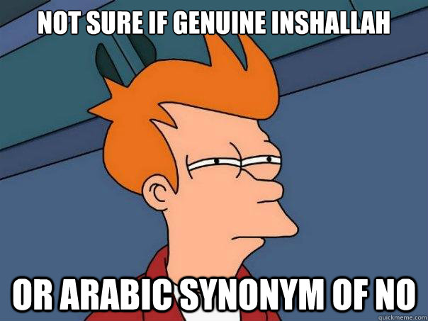 not sure if genuine inshallah or arabic synonym of no - Futurama Fry