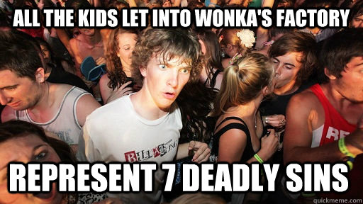 all the kids let into wonkas factory represent 7 deadly sin - Sudden Clarity Clarence