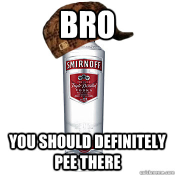 bro you should definitely pee there - Scumbag Alcohol